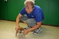 Edgar Bürli mit einem Welpen beim Tierarzt.